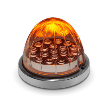 Clear Amber Watermelon LED with Reflector Cup & Lock Ring (19 Diodes)