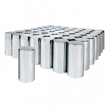 "33 mm x 4 1/4"" Chrome Tall Cylinder Nut Cover - Thread-On"