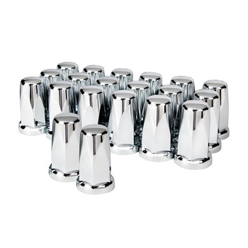 """33mm x 3 1/4"""" Chrome Tall Classic Nut Cover - Push-On (20/Pack)"""
