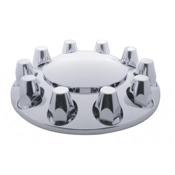 Chrome Plastic Economy Front Axle Cover W/ Removable Cap - 33Mm Thread-On Nut Cover
