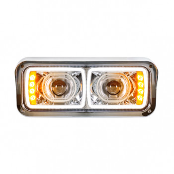 "4"" x 6"" Modular Chrome LED Projection Headlight with LED Turn Signal"