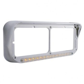 14 LED Rectangular Dual Headlight Bezel w/ Visor - Amber LED/Chrome Lens
