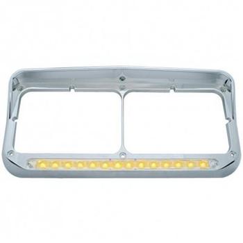 Chrome 14 Amber Led Rectangular Headlight Bezel W/ Visor - Clear Lens