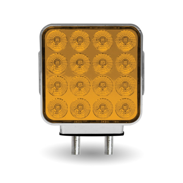 Amber/Red Double Face Double Post Square LED with Reflector - (42 Diodes)