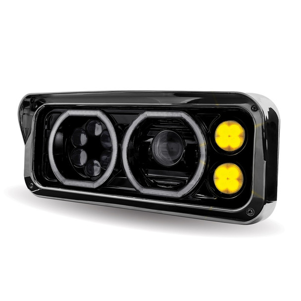 Rectangular Halo LED Projector Headlight Assembly - Black