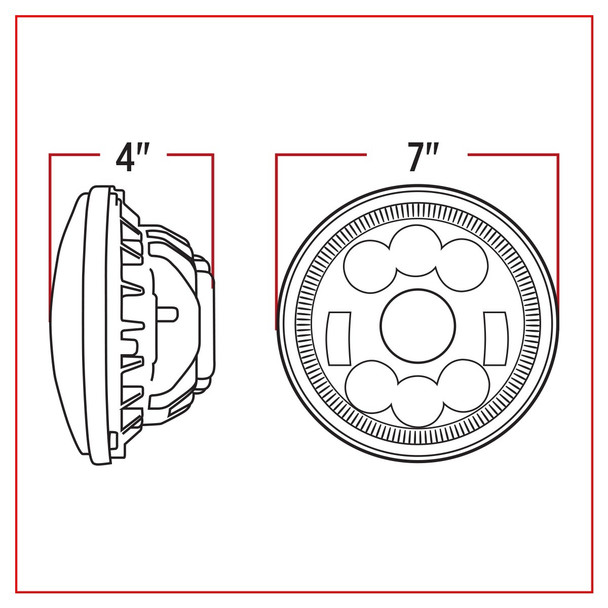 "7"" Round LED Headlight (1320 Lumens)"