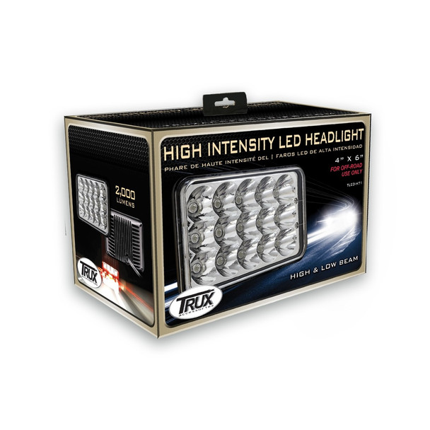 """4"""" x 6"""" LED Headlight with High Intensity Epistar Diodes (15 Diodes) - 1860 Lumens - Not DOT Approved"""