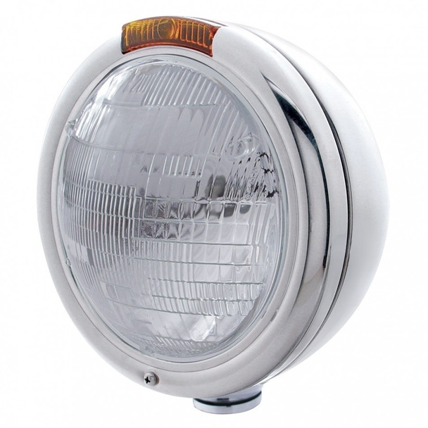 "Stainless Steel ""Classic"" Peterbilt Sealed Beam Headlight W/ Incandescent Signal Light - Amber"