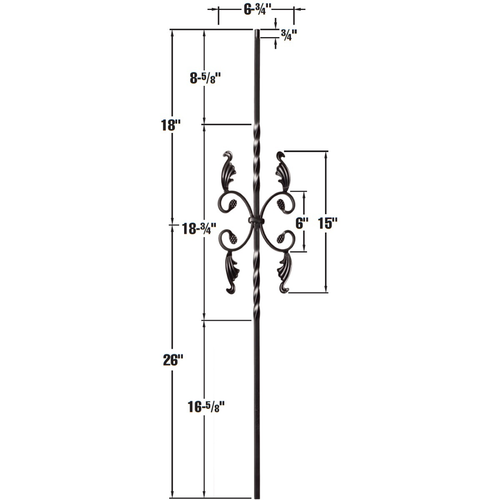 scrolls iron balusters from lighted landings