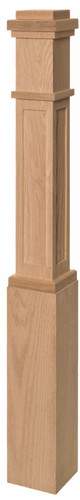 Mission or craftsman style newel post with recessed panel in red oak