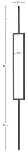 Single rectangle iron baluster for modern insteriors