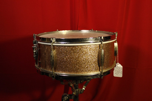 1965 Slingerland (Re-Wrapped) Gold Sparkle Snare 14X5 w/ Stand (Used)