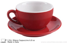 red ipa milano cappuccino cup and saucer