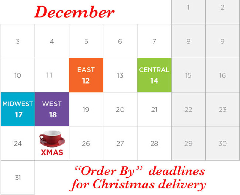 Our shipping deadlines for Christmas delivery