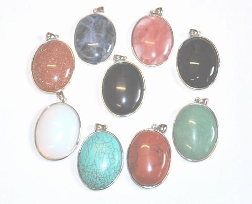 Large Oval Glass Gem Pendants