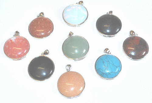 Round Glass Gem Pendants