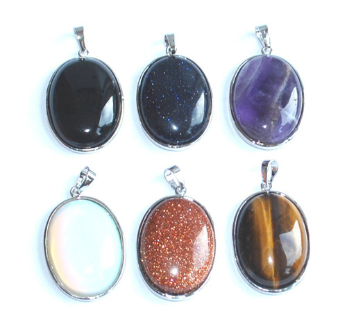 Glass Gem Oval Pendants