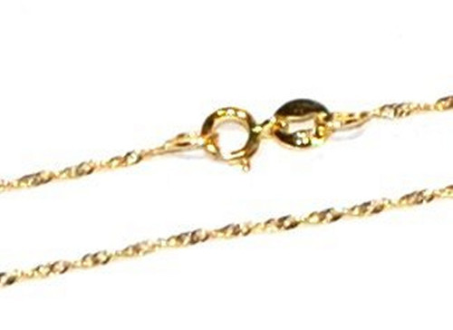 9ct Gold Twisted Singapore Chain - 0.8mm