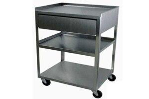 Dynatronics Stainless Steel 3-Shelf Cart with Stainless Drawer