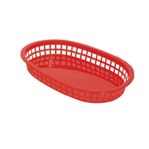 """UPDATE BB107R Oval Food Basket 10.5"""" x 7"""" Red"""