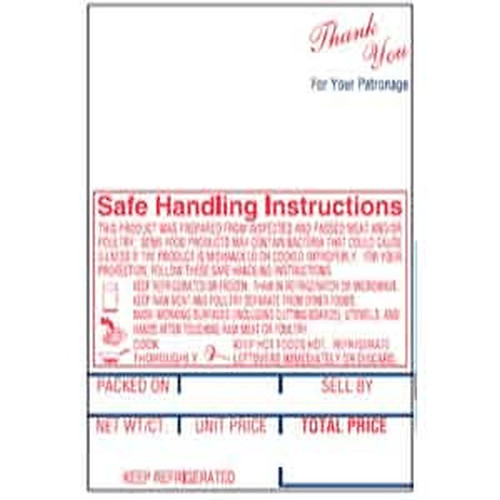 Hobart SP-80/600/1500 Style K Scale Label Safe Handling Print
