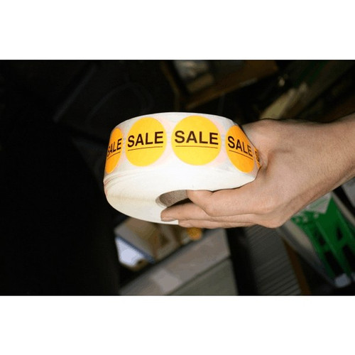 """SALE"" Red Round Promotional Label"