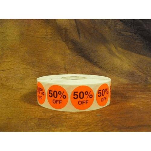 50% OFF Round Label Sticker - Red