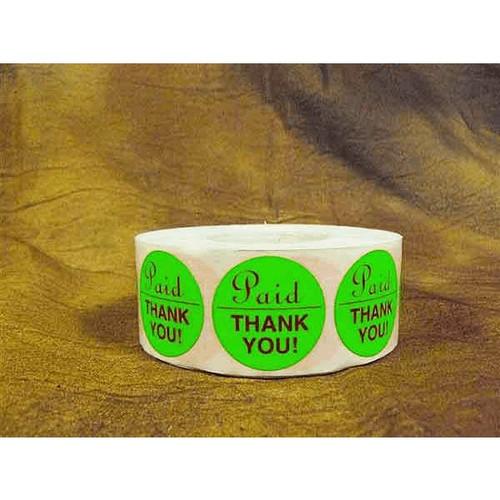PAID THANK YOU Dayglo Green Round Label Sticker