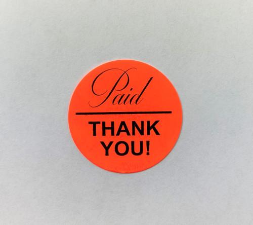 PAID THANK YOU Dayglo Red Round Label Sticker