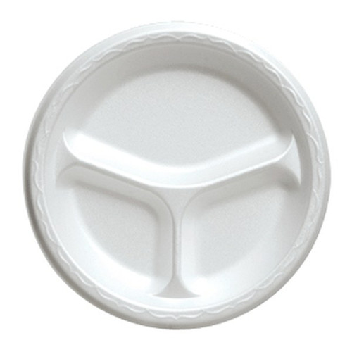 Genpak 81300 10 Inch Compartmented Round White Foam Plate