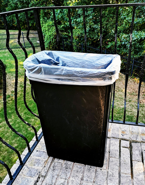 """7-10 Gallon 24"""" x 24"""" High Density Trash Can Liner 6 Micron Clear - 1000 / Case"""