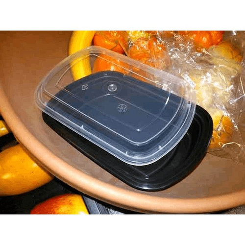 25 Oz Black Plastic Container Rectangular With Lid