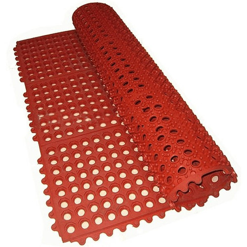 "WINCO RBM-35R Rubber Floor Mat, RED 36"" x 60"""