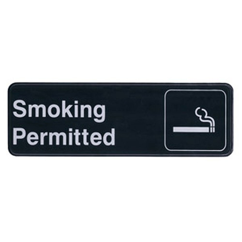 "UPDATE S39-12BK Smoking Permitted Sign 3"" x 9"""