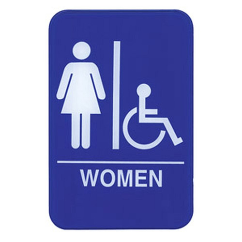 "UPDATE S69-8BL WOMAN Accessible Sign 6"" x 9"""