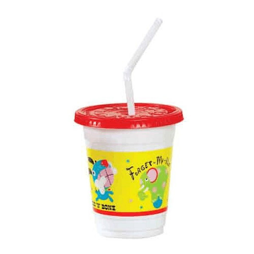 SoloCup CC12C-J5146 Plastic Kids Cups 12oz Critters Cups, Lids and Straws