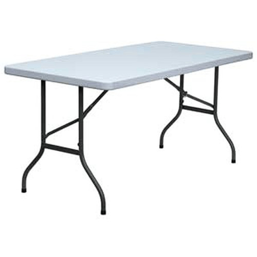 "Flash Furniture DAD-YCZ-152-GG 30"" x 60"" Blow Molded Plastic Folding Table White"