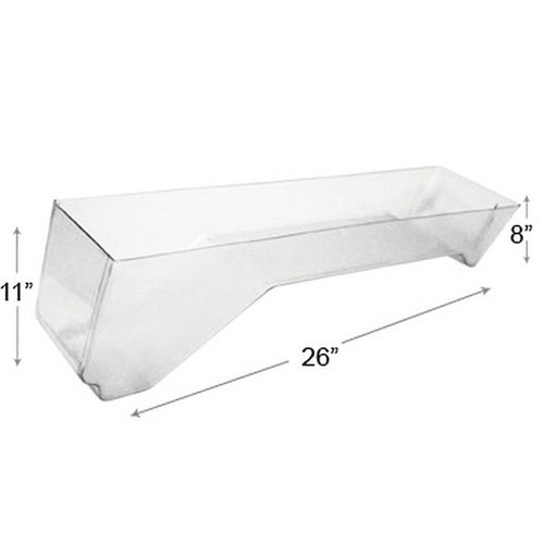 "Clear Acrylic Bin 9"" x 26"" x 8"" with Dummied Angled"