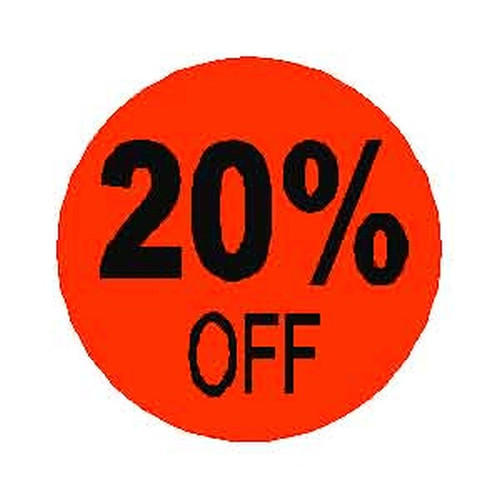 20% OFF Round Label Sticker - Red