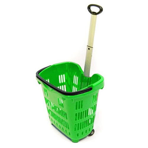 "Green Shopping Basket with Wheel 18"" x 14"" x 17.5"""