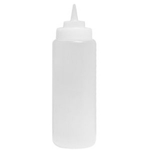WINCO PSB-24C 24 Oz Clear White Squeeze Bottle