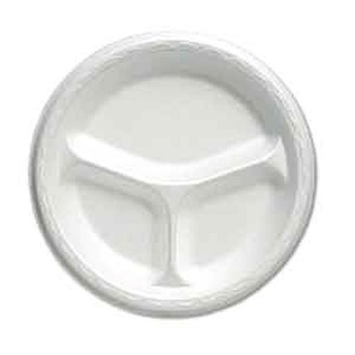 Genpak 83900 9 Inch Compartmented Round White Foam Plate