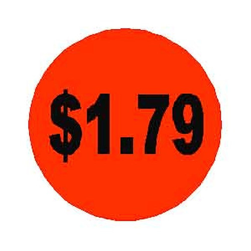 $1.79 Round Label Sticker - Orange