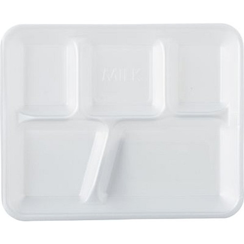 Genpak 10500 5 Compartment White Foam Serving Tray