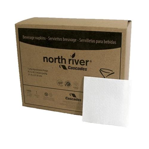 Cascades North River Beverage Napkin 1/4 Fold White