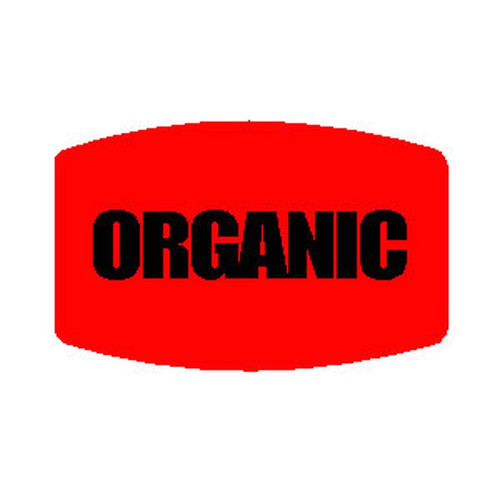 """ORGANIC"" Printed Red Dayglo Label"