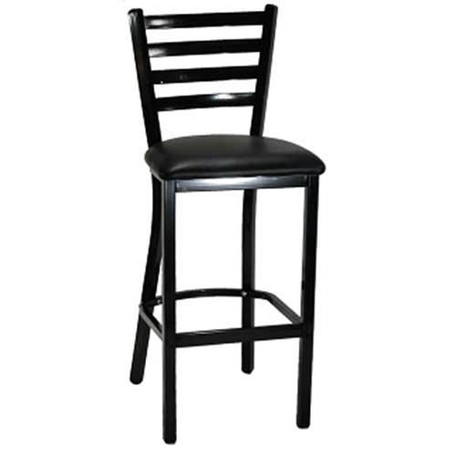 H&D 6145B Black Metal Dining Ladder Back Bar Stool