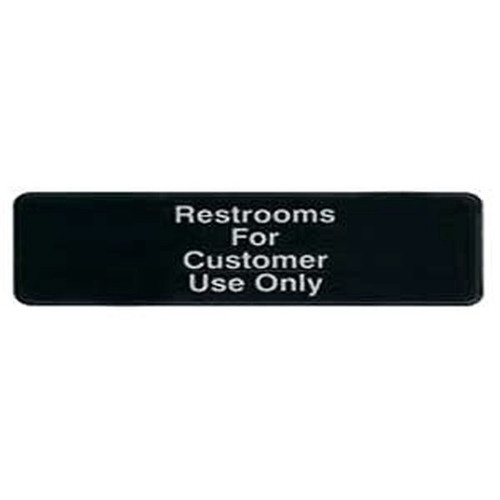 "WINCO SGN-317 Restroom For Customer Sign 3"" x 9"" Black"