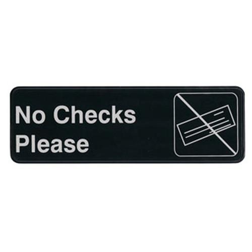 """UPDATE S39-17BK No Checks Please Sign 3"""" x 9"""" Black"""