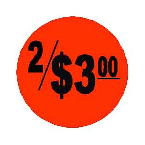 2 / $3.00 Round Label Sticker - Red